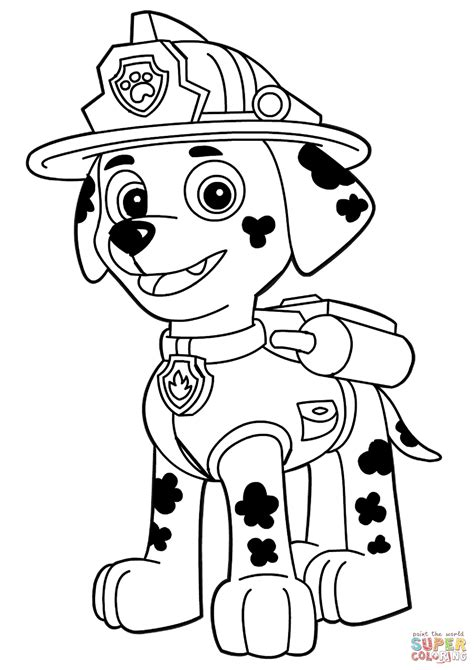 coloring page for paw patrol paw patrol marshall coloring page free printable