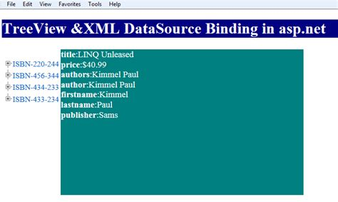 xml tutorial in asp net asp net 4 tutorials treeview and xmldatasource binding in