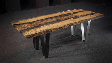 Kitchen Cabinet Pieces table made of recycled bricole pole and resin chimenti