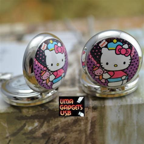 cadenas de plata de hello kitty reloj hello kitty con cadena no llavero de bolsillo s