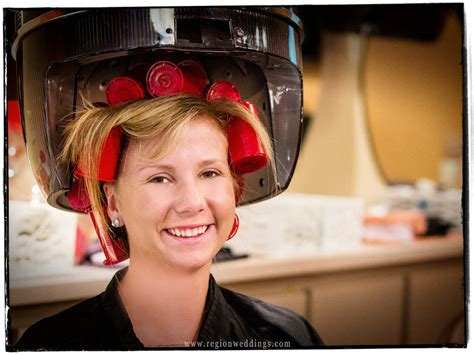 under the dryer in curlers outdoor wedding ceremony at the halls of st george