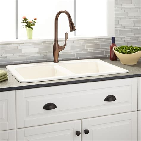 Drop In Kitchen Sinks 33 Quot Gostyn Bowl Cast Iron Drop In Kitchen Sink Kitchen