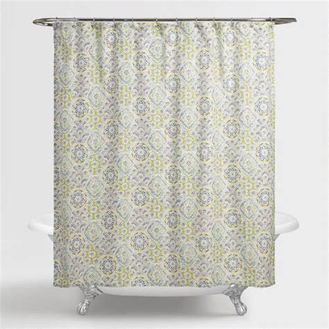 world market shower curtains blue tile kennett shower curtain world market