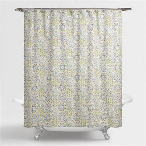 world market shower curtain blue tile kennett shower curtain world market
