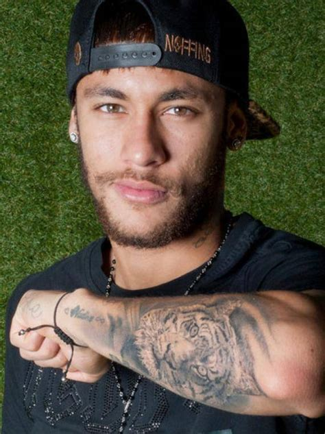 neymar 183 tiger tattoo on neymar s left forearm