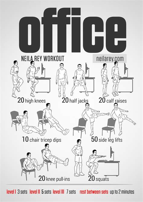 Visual Workout Guides For Full Bodyweight No Equipment Office Desk Workouts