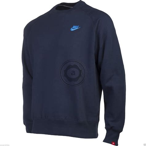 Sweater Murah Jaket Nike Blue Limited nike mens fleece lined sweatshirt jumper crew neck top black blue grey charcoal ebay