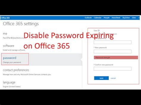 change office 365 passwords to never expire