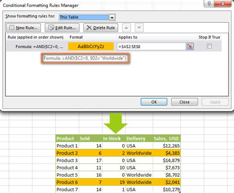 formula in excel format currency conditionally formatted data exles and guidelines