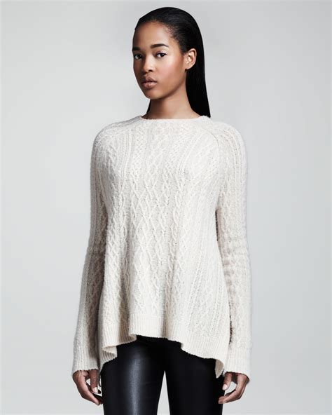swing sweaters lyst the row cableknit swing sweater in white