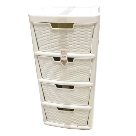 plastic storage cabinets with drawers simply rattan 4 drawers tower cabinet bookstand cream