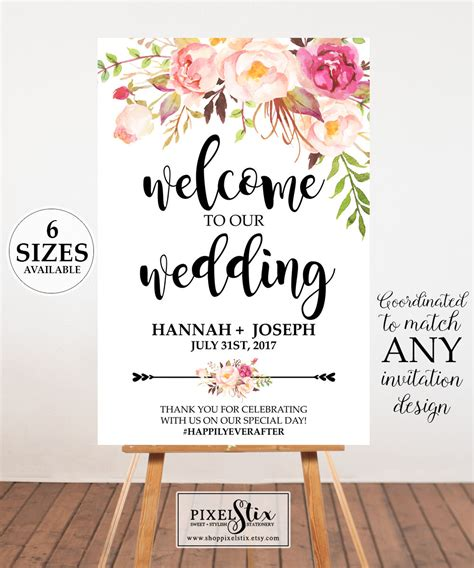 design poster board sign watercolor floral wedding welcome poster wedding welcome