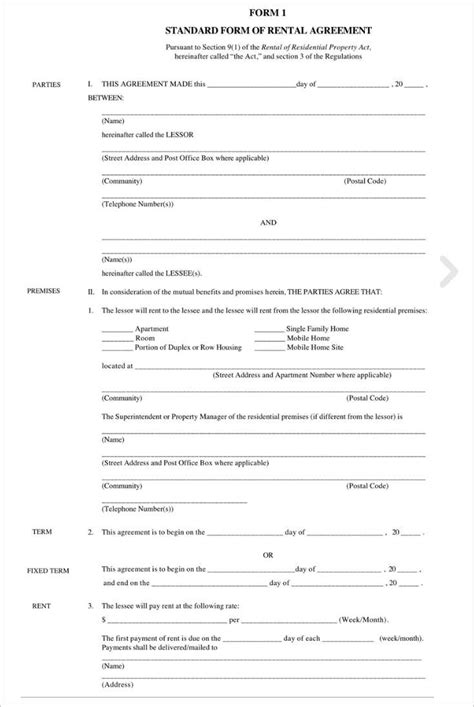 Standard Tenancy Agreement Template by 282 Rental Lease Agreement Free Pdf Sle Word Formats