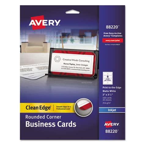 Avery Smooth Edgebusiness Card Templates by Ave 88220 Avery 174 Premium Clean Edge Business Cards Ave88220