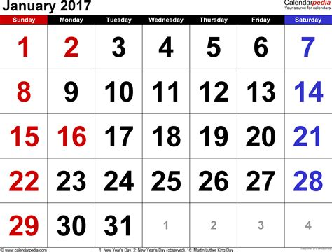 Kalender 2017 Jan January 2017 Calendars For Word Excel Pdf