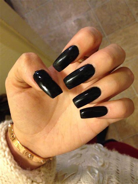Black Nail by Black Acrylic Square Nails Nails
