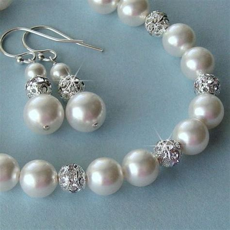 bridal pearl bracelet and earrings set pearl and