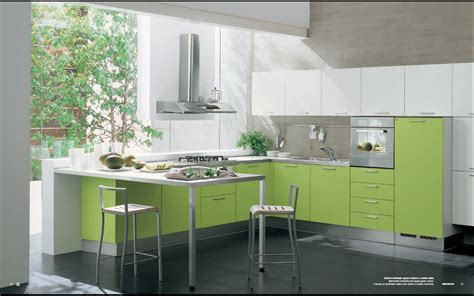 Interior Design For Kitchen Modern Green Kitchen Interior Design Stylehomes Net