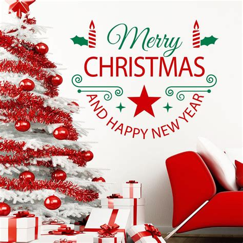 merry christmas quotes happy  year art wall decals window home decor wall mural colorful wall