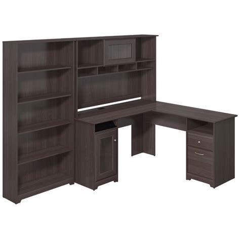 grey l shaped desk bush cabot 60 quot l shape desk with hutch and 5 shelf bookcase in gray cab011hrg