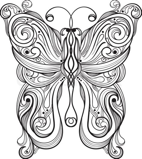Unique Pattern vector monochrome butterfly with unique pattern stock
