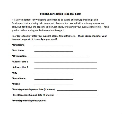 free sponsorship form template free sponsorship form template word excel pdf sles