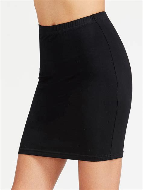 Elastic Waist elastic waist bodycon jersey skirtfor romwe