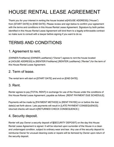 House Rental Agreement Template Free Download Edit Print And Sign Rental Policy Template