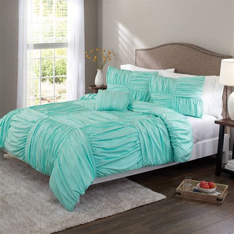 Turquoise Bed Covers Aqua Ruched Basket Weave Duvet Cover Set Everything