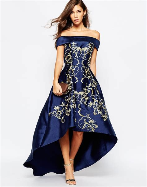 We74 Dress Pesta Premium chi chi shoulder high low dress with baroque embroidery in blue lyst