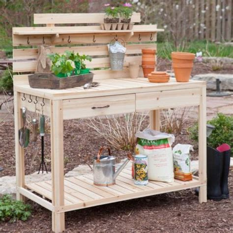 gardeners benches with storage cedar wood potting bench with sink gardening planting