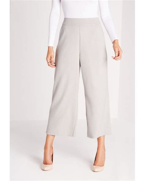 Premium Cropped Cullotes Medina Fashion missguided cropped wide leg culottes grey in gray lyst