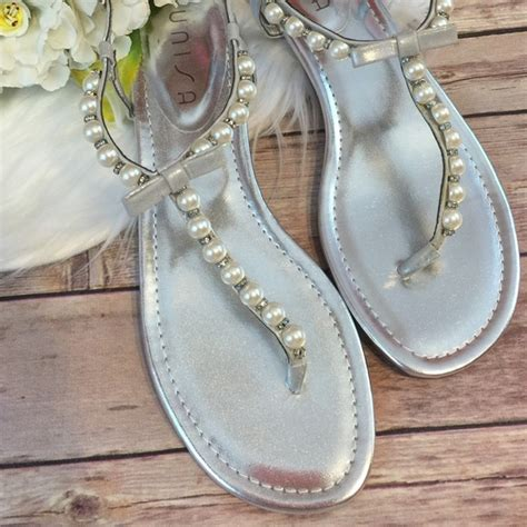 silver pearl sandals 49 unisa shoes silver pearl bow sandals size 9 5