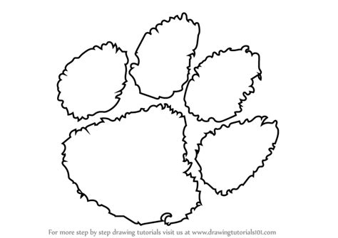 coloring page tiger paw learn how to draw clemson tigers logo logos and mascots
