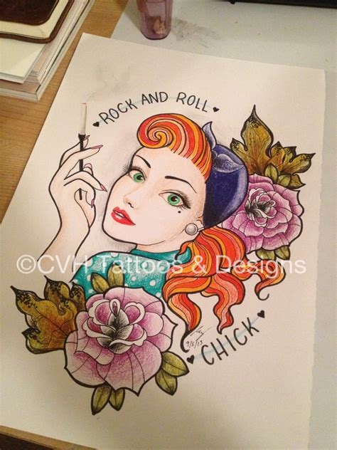 1950 pin up tattoo designs rock and roll rockandroll rockabilly drawing