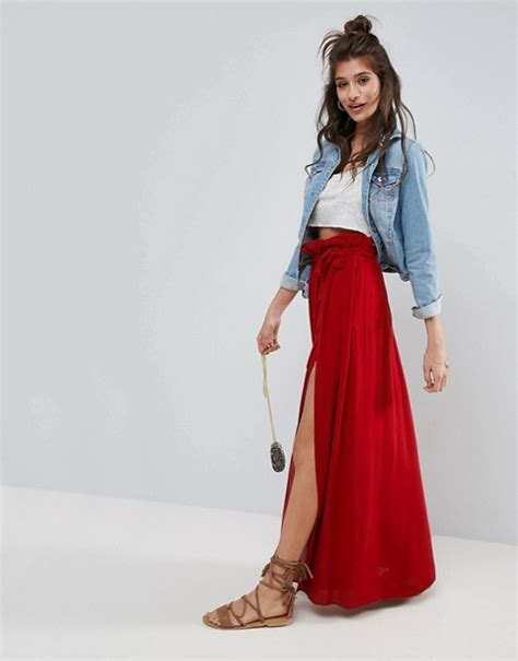 asos asos maxi skirt with belt and thigh split