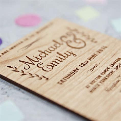 wood wedding invitations floral wooden wedding invitation by