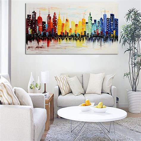 livingroom wall art 120x60cm modern city canvas abstract painting print living