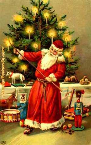 pictures of crismas tree and centaclaus santa claus and the origin of the tree pole spirits and south