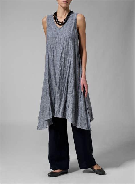 For Two Reviana Linen Dress 4 linen sleeveless crumple effect blouse with leg textile