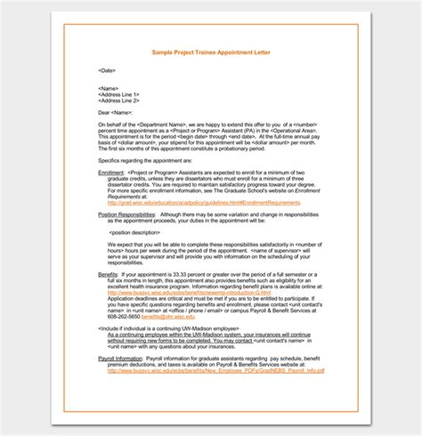 appointment letter format management trainee trainee appointment letter 9 for word doc pdf format