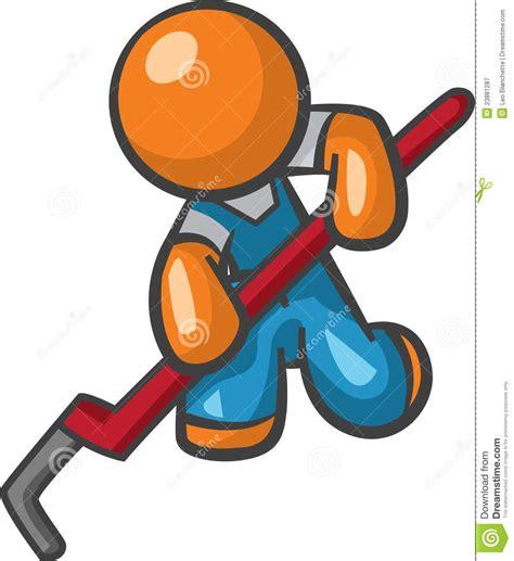 Plumbing Orange orange plumber with pipe wrench royalty free stock