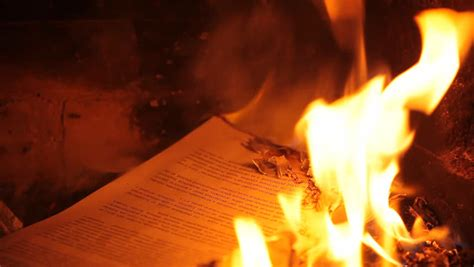 burning page in the fireplace hd 1080p stock footage