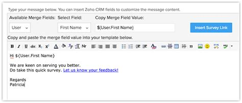 customer survey email template working with zoho survey help zoho crm