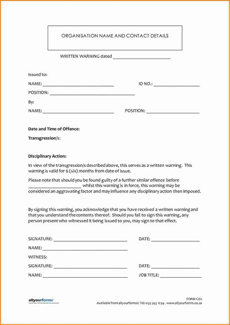 written warning template for attendance 9 written warning template cashier resume