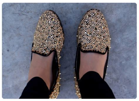 black loafers with gold studs shoes flat flats rivets studs studded spikes gold
