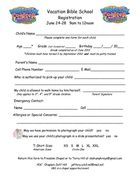 Vbs Registration Form For C Humphrey S Freedom Chapel Vbs Registration Form Template