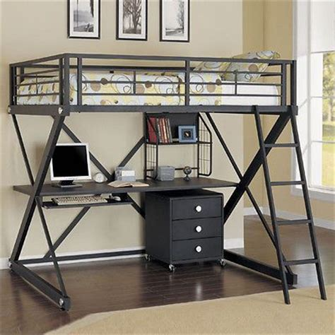 Modern Loft Bed With Desk Modern Versatile Safe Black Metal Size Youth Study Loft Bunk Bed Desk Shelf Bunk Rooms