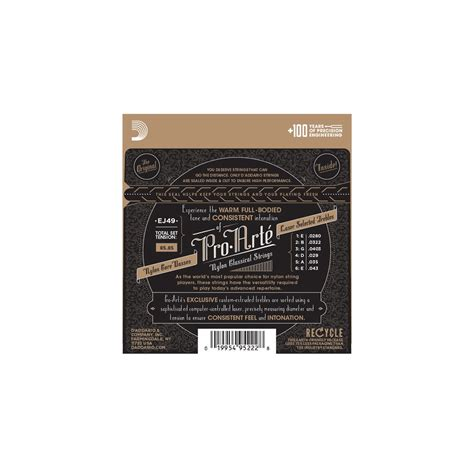 Senar Daddario Black Normal Tension Pro Arte Ej49 d addario ej49 pro arte classical black normal guitar strings