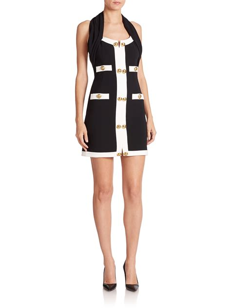 An Dress Moschino lyst moschino button trim halter dress in white